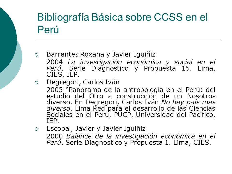 Bibliografía Básica sobre CCSS en el Perú Barrantes Roxana y Javier Iguiñiz 2004 La investigación económica y social en el Perú. Serie Diagnostico y P