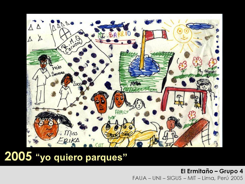 El Ermitaño – Grupo 4 FAUA – UNI – SIGUS – MIT – Lima, Perú 2005 Reflexiones La adición de nuevos pisos se correlaciona con aumentos en los ingresos de la familia (algunos de los aumentos provienen de la segunda generación) Cuando los hijos progresan, prefieren vivir en otro lugar los espacios disponibles se transforman en negocios o quedan inutilizados Los procesos de invasión se mantienen: ¿Cómo convertir las zonas consolidadas en soluciones de vivienda para familias de bajos ingresos en el futuro?