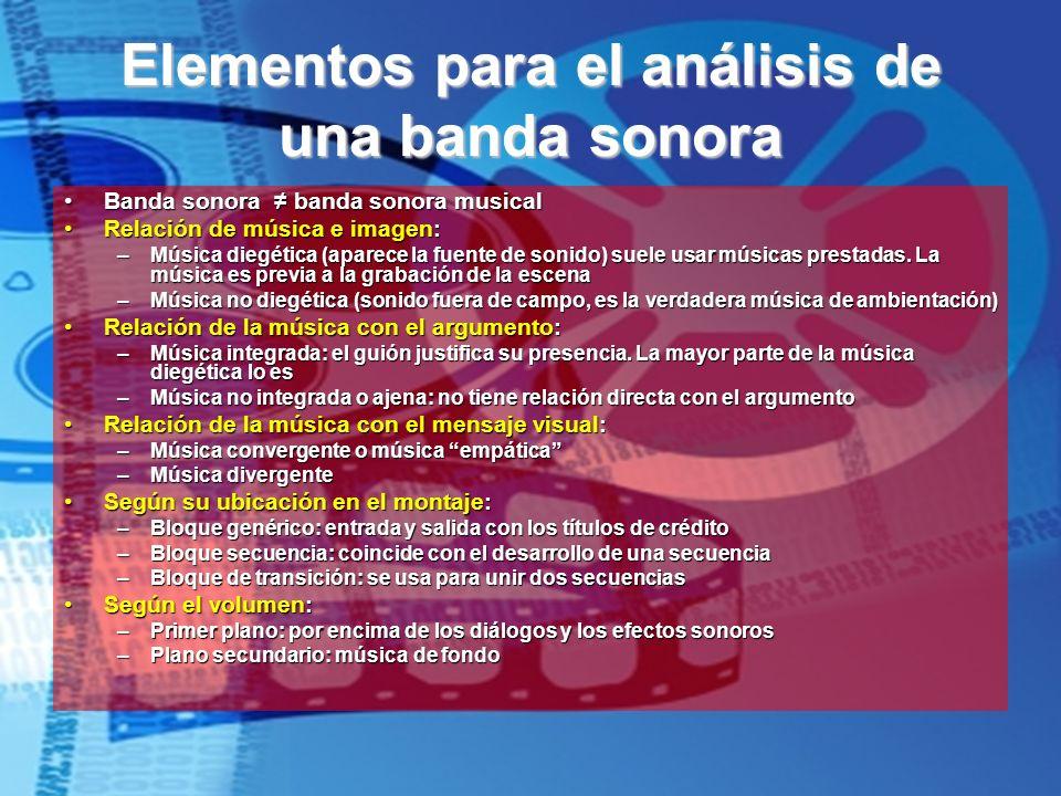 Elementos para el análisis de una banda sonora Banda sonora banda sonora musicalBanda sonora banda sonora musical Relación de música e imagen:Relación