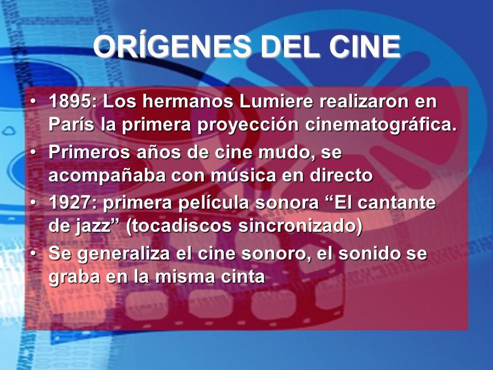 ORÍGENES DEL CINE 1895: Los hermanos Lumiere realizaron en París la primera proyección cinematográfica.1895: Los hermanos Lumiere realizaron en París