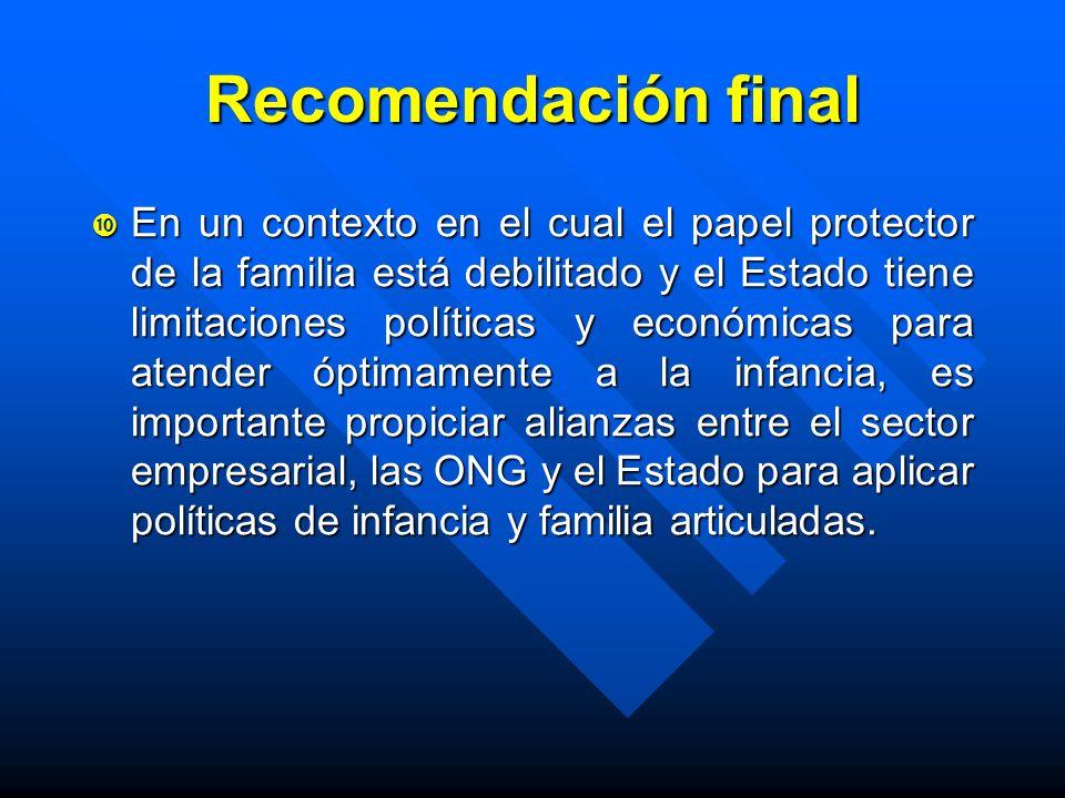 Recomendación final En un contexto en el cual el papel protector de la familia está debilitado y el Estado tiene limitaciones políticas y económicas p