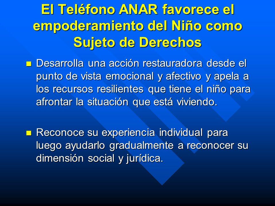 El Teléfono ANAR favorece el empoderamiento del Niño como Sujeto de Derechos Desarrolla una acción restauradora desde el punto de vista emocional y af