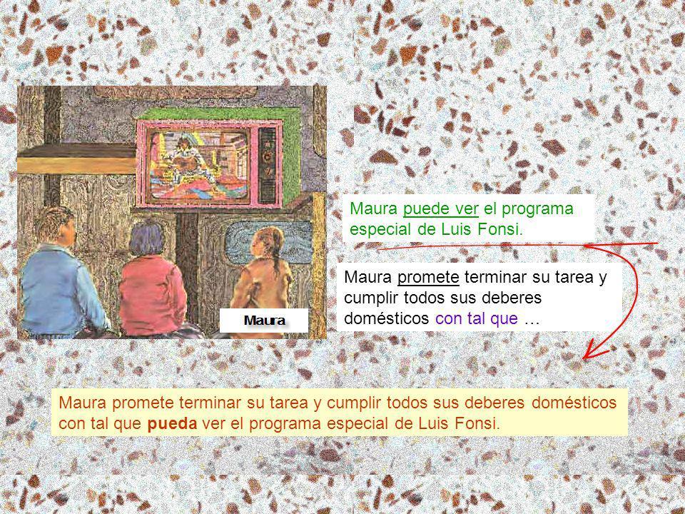 Maura promete terminar su tarea y cumplir todos sus deberes domésticos con tal que … Maura puede ver el programa especial de Luis Fonsi.