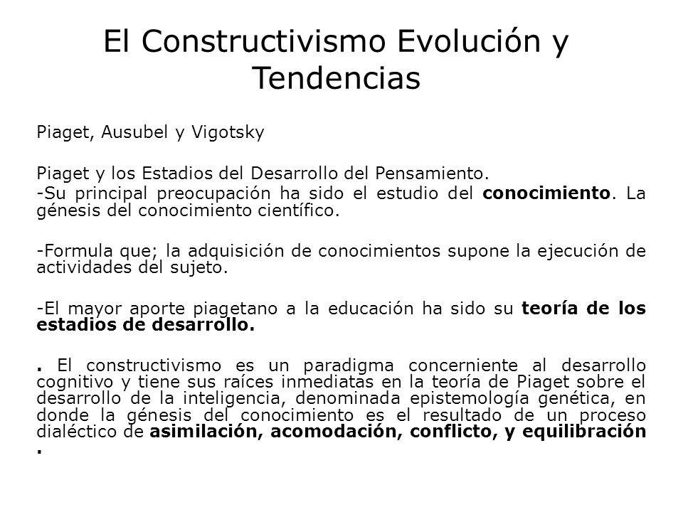 El Constructivismo Evolución y Tendencias Piaget, Ausubel y Vigotsky Piaget y los Estadios del Desarrollo del Pensamiento. -Su principal preocupación