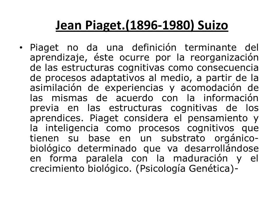 Jean Piaget.(1896-1980) Suizo Piaget no da una definición terminante del aprendizaje, éste ocurre por la reorganización de las estructuras cognitivas