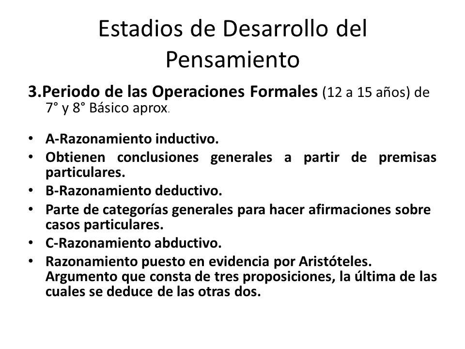 Estadios de Desarrollo del Pensamiento 3.Periodo de las Operaciones Formales (12 a 15 años) de 7° y 8° Básico aprox. A-Razonamiento inductivo. Obtiene