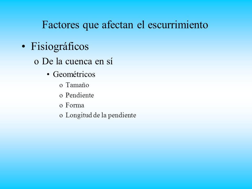 Factores que afectan el escurrimiento Fisiográficos oDe la cuenca en sí Geométricos oTamaño oPendiente oForma oLongitud de la pendiente