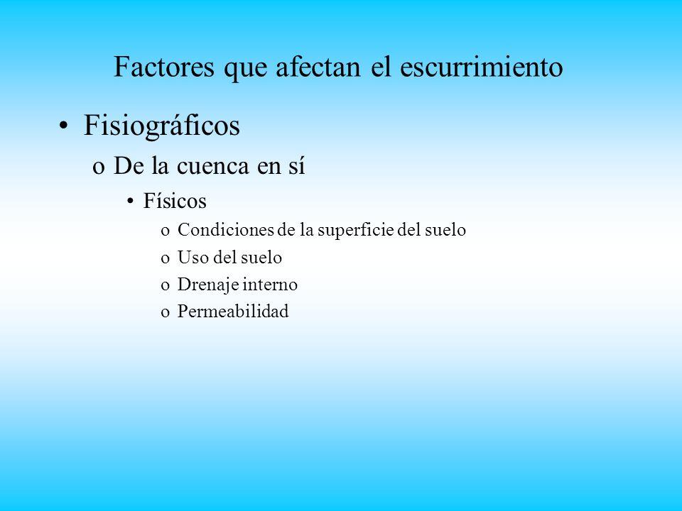 Factores que afectan el escurrimiento Fisiográficos oDe la cuenca en sí Físicos oCondiciones de la superficie del suelo oUso del suelo oDrenaje interno oPermeabilidad