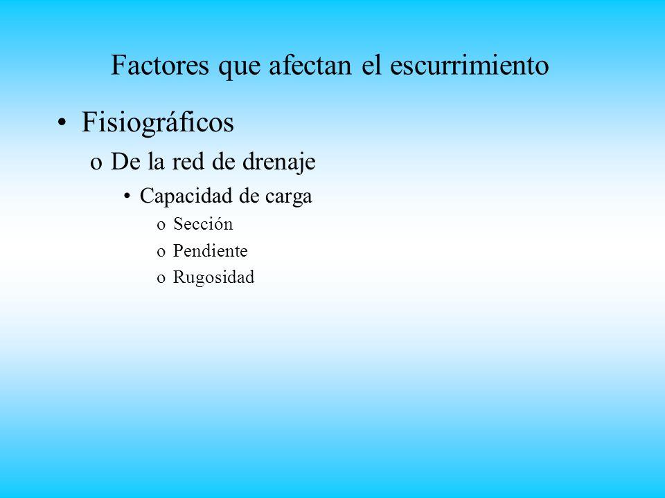 Factores que afectan el escurrimiento Fisiográficos oDe la red de drenaje Capacidad de carga oSección oPendiente oRugosidad