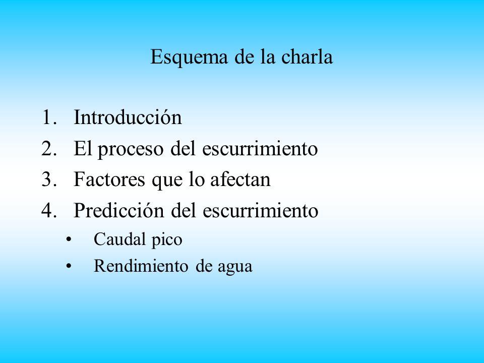 1.Introducción 2.El proceso del escurrimiento 3.Factores que lo afectan 4.Predicción del escurrimiento Caudal pico Rendimiento de agua Esquema de la charla