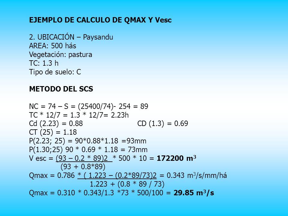 EJEMPLO DE CALCULO DE QMAX Y Vesc 2.