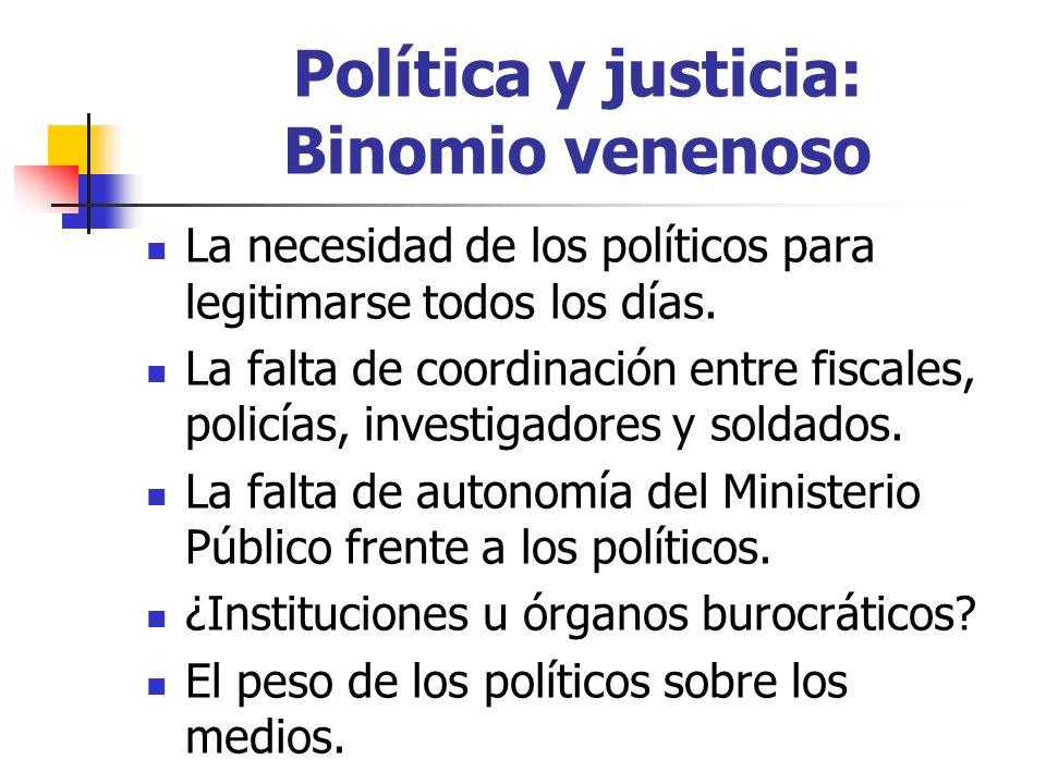 Política y justicia: Binomio venenoso La necesidad de los políticos para legitimarse todos los días.