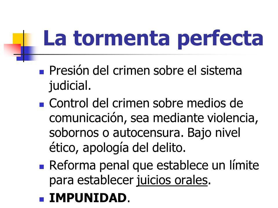 La tormenta perfecta Presión del crimen sobre el sistema judicial.