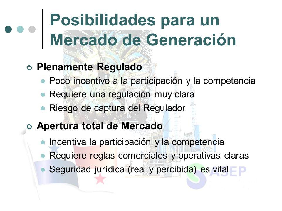 Posibilidades para un Mercado de Generación Plenamente Regulado Poco incentivo a la participación y la competencia Requiere una regulación muy clara Riesgo de captura del Regulador Apertura total de Mercado Incentiva la participación y la competencia Requiere reglas comerciales y operativas claras Seguridad jurídica (real y percibida) es vital