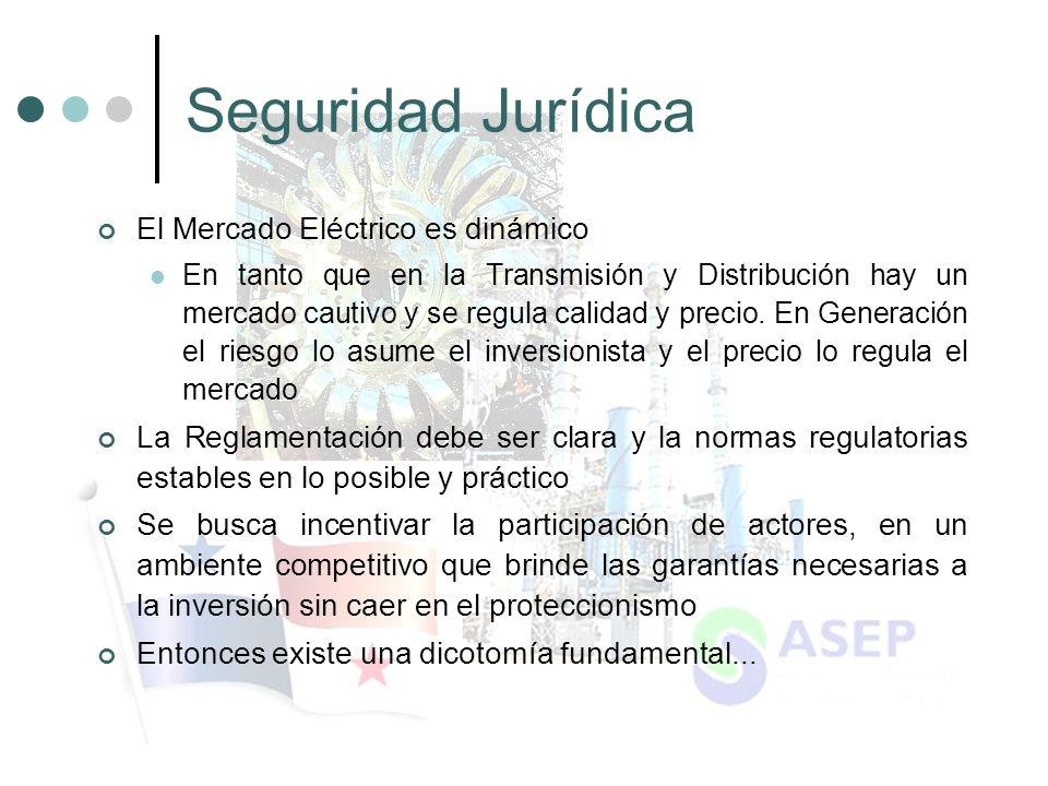 Seguridad Jurídica El Mercado Eléctrico es dinámico En tanto que en la Transmisión y Distribución hay un mercado cautivo y se regula calidad y precio.