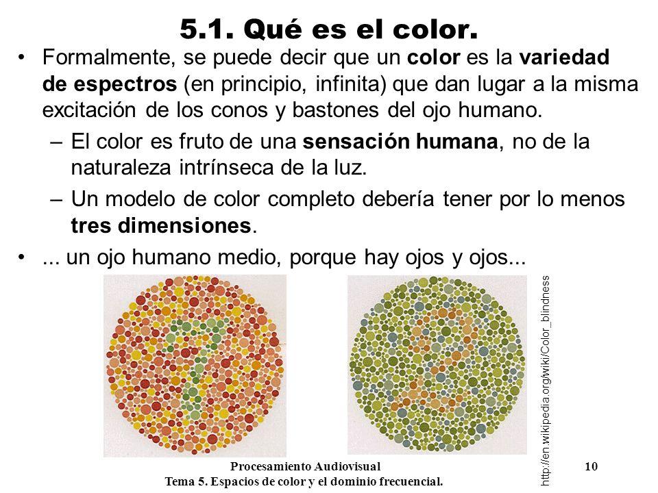 Procesamiento Audiovisual 10 Tema 5. Espacios de color y el dominio frecuencial. 5.1. Qué es el color. Formalmente, se puede decir que un color es la