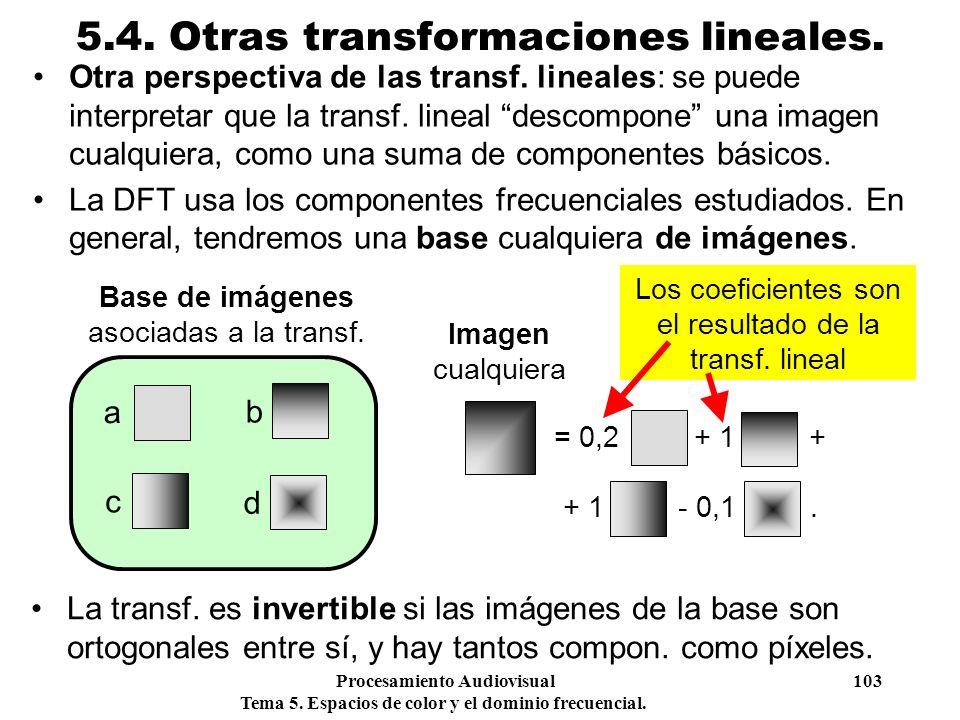Procesamiento Audiovisual 103 Tema 5. Espacios de color y el dominio frecuencial. 5.4. Otras transformaciones lineales. Otra perspectiva de las transf
