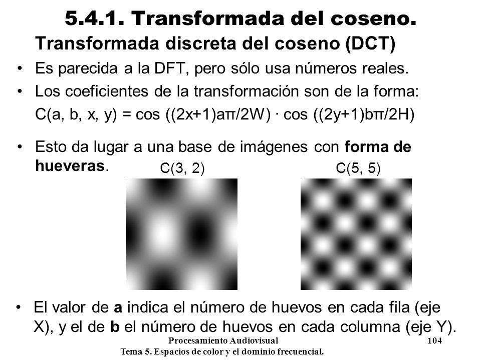 Procesamiento Audiovisual 104 Tema 5. Espacios de color y el dominio frecuencial. 5.4.1. Transformada del coseno. Transformada discreta del coseno (DC