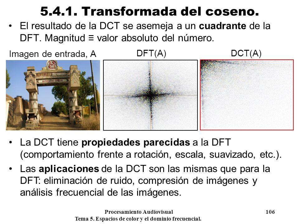 Procesamiento Audiovisual 106 Tema 5. Espacios de color y el dominio frecuencial. 5.4.1. Transformada del coseno. El resultado de la DCT se asemeja a
