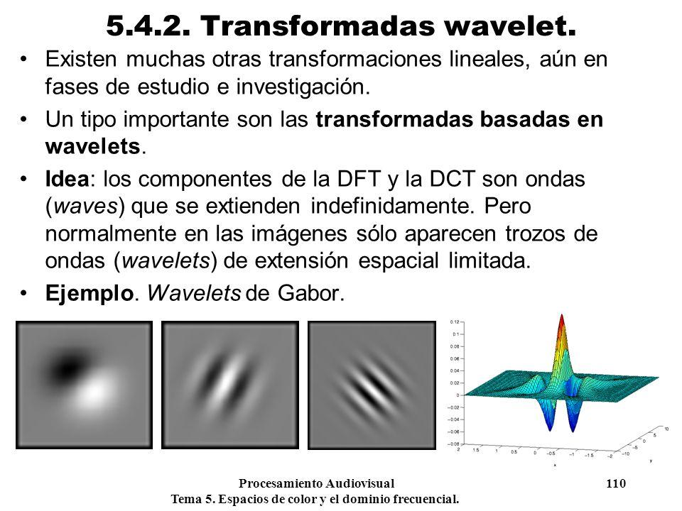 Procesamiento Audiovisual 110 Tema 5. Espacios de color y el dominio frecuencial. 5.4.2. Transformadas wavelet. Existen muchas otras transformaciones