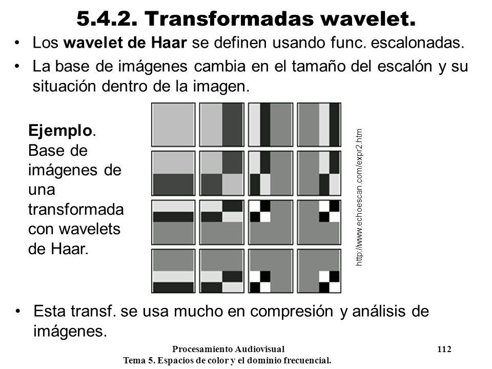 Procesamiento Audiovisual 112 Tema 5. Espacios de color y el dominio frecuencial. 5.4.2. Transformadas wavelet. Los wavelet de Haar se definen usando