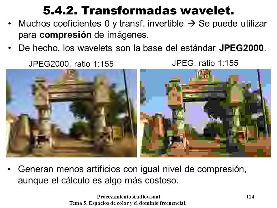 Procesamiento Audiovisual 114 Tema 5. Espacios de color y el dominio frecuencial. 5.4.2. Transformadas wavelet. Muchos coeficientes 0 y transf. invert