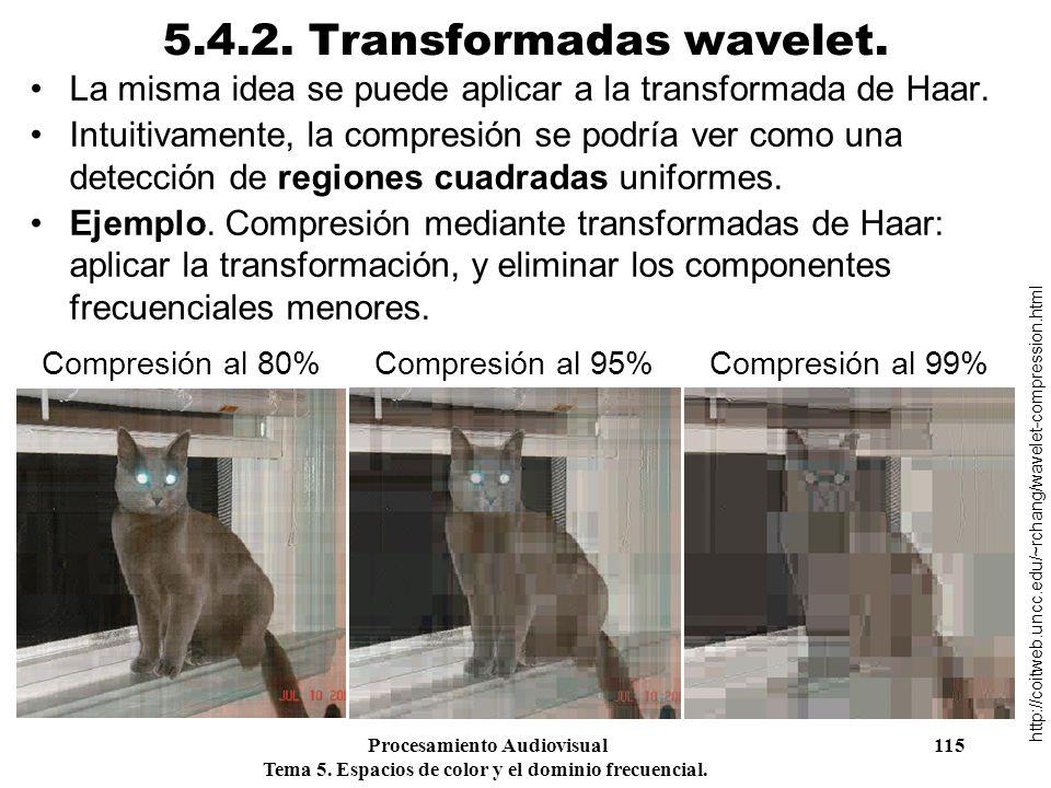 Procesamiento Audiovisual 115 Tema 5. Espacios de color y el dominio frecuencial. 5.4.2. Transformadas wavelet. La misma idea se puede aplicar a la tr