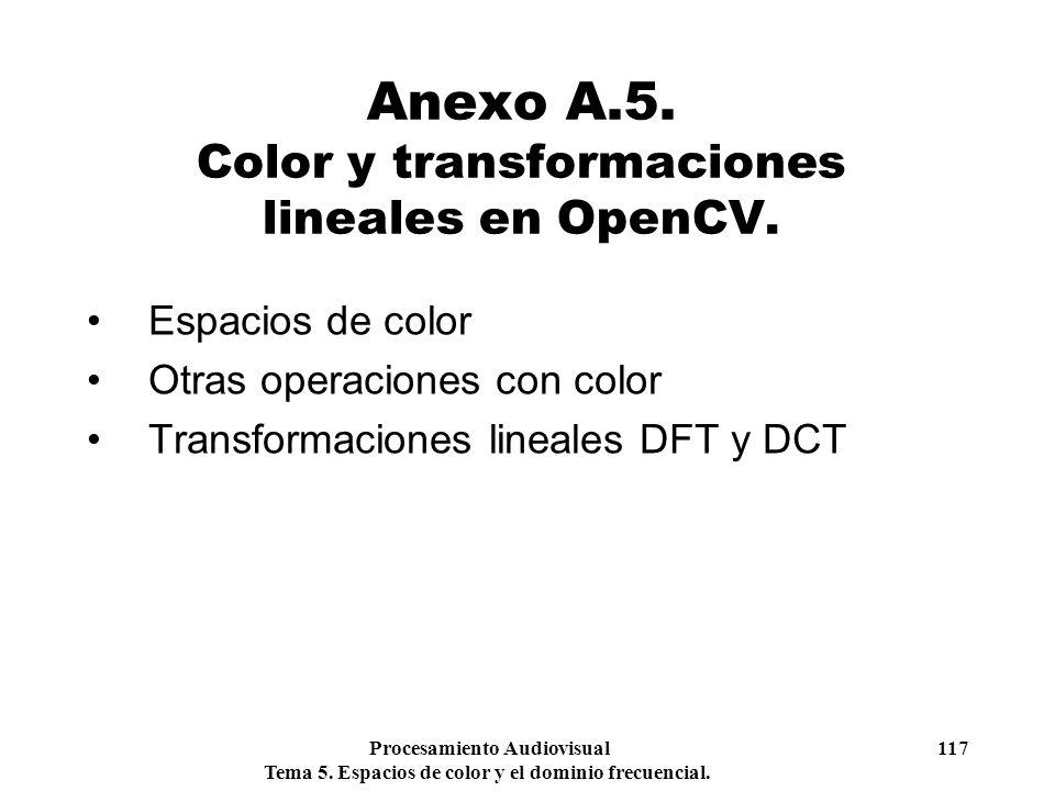 Procesamiento Audiovisual 117 Tema 5. Espacios de color y el dominio frecuencial. Anexo A.5. Color y transformaciones lineales en OpenCV. Espacios de