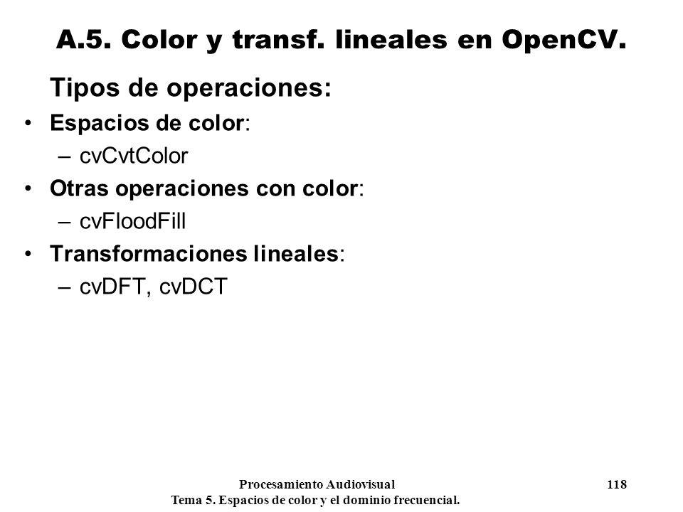 Procesamiento Audiovisual 118 Tema 5. Espacios de color y el dominio frecuencial. Tipos de operaciones: Espacios de color: –cvCvtColor Otras operacion