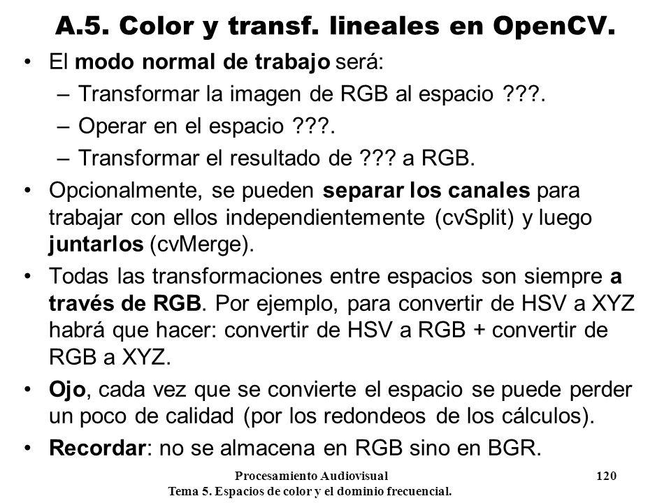 Procesamiento Audiovisual 120 Tema 5. Espacios de color y el dominio frecuencial. El modo normal de trabajo será: –Transformar la imagen de RGB al esp