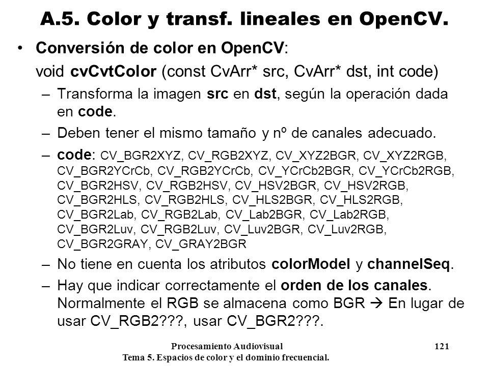 Procesamiento Audiovisual 121 Tema 5. Espacios de color y el dominio frecuencial. Conversión de color en OpenCV: void cvCvtColor (const CvArr* src, Cv