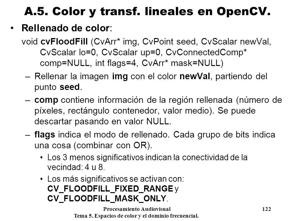 Procesamiento Audiovisual 122 Tema 5. Espacios de color y el dominio frecuencial. Rellenado de color: void cvFloodFill (CvArr* img, CvPoint seed, CvSc