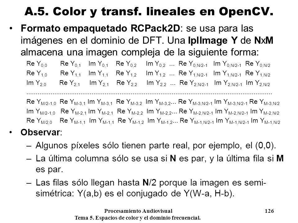 Procesamiento Audiovisual 126 Tema 5. Espacios de color y el dominio frecuencial. Formato empaquetado RCPack2D: se usa para las imágenes en el dominio