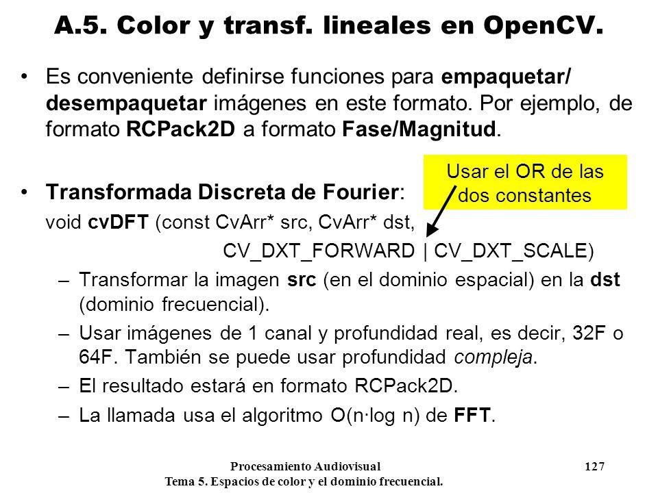 Procesamiento Audiovisual 127 Tema 5. Espacios de color y el dominio frecuencial. Es conveniente definirse funciones para empaquetar/ desempaquetar im