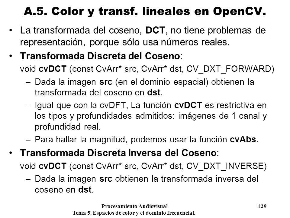 Procesamiento Audiovisual 129 Tema 5. Espacios de color y el dominio frecuencial. La transformada del coseno, DCT, no tiene problemas de representació