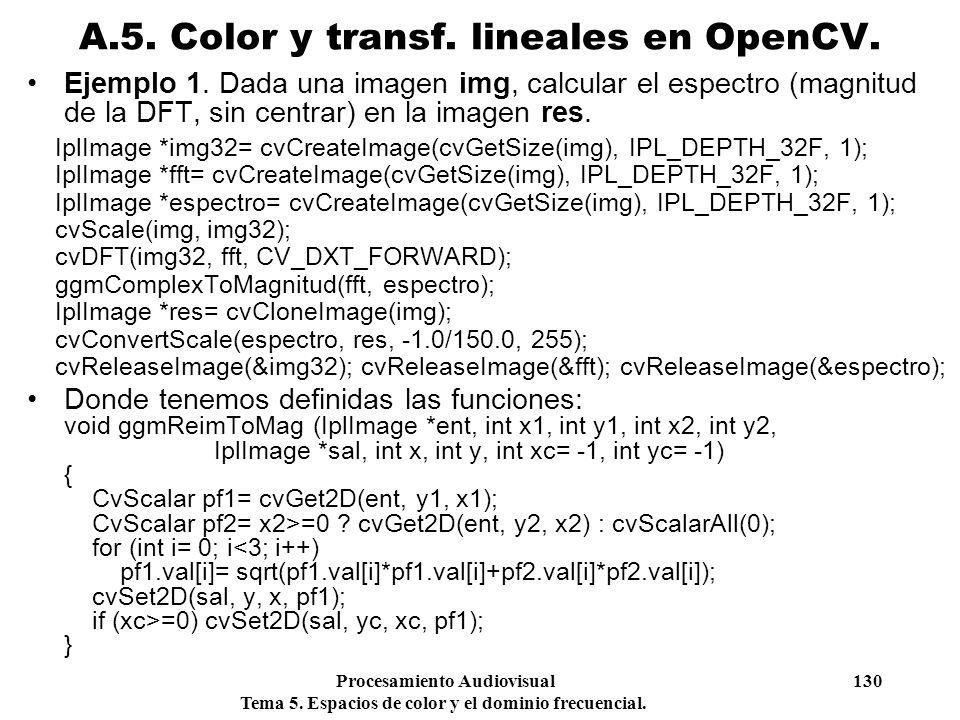 Procesamiento Audiovisual 130 Tema 5. Espacios de color y el dominio frecuencial. Ejemplo 1. Dada una imagen img, calcular el espectro (magnitud de la