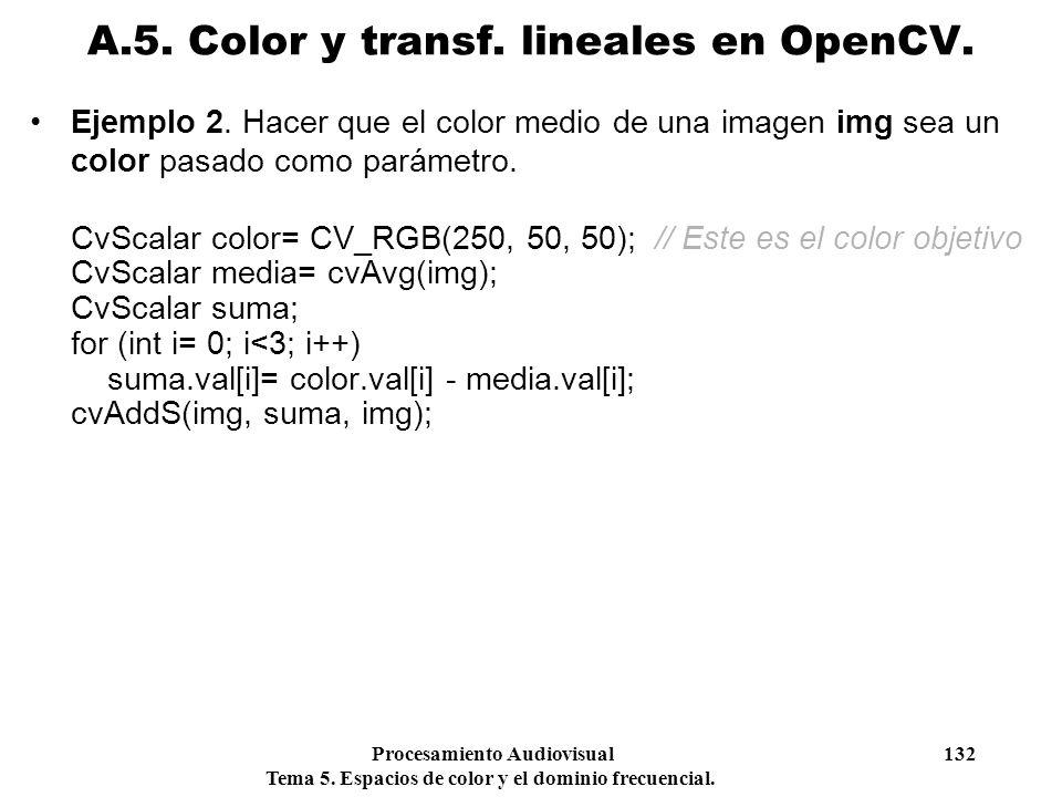 Procesamiento Audiovisual 132 Tema 5. Espacios de color y el dominio frecuencial. Ejemplo 2. Hacer que el color medio de una imagen img sea un color p