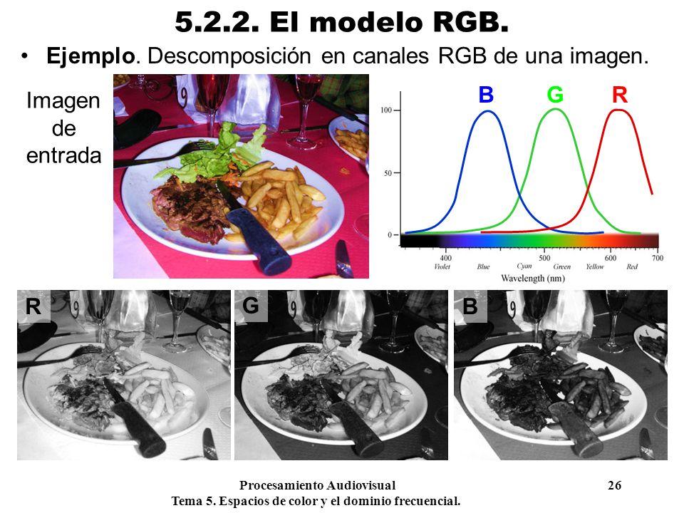 Procesamiento Audiovisual 26 Tema 5. Espacios de color y el dominio frecuencial. 5.2.2. El modelo RGB. Ejemplo. Descomposición en canales RGB de una i