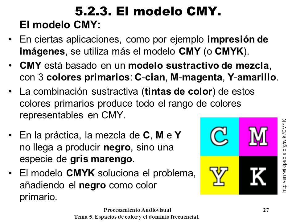 Procesamiento Audiovisual 27 Tema 5. Espacios de color y el dominio frecuencial. 5.2.3. El modelo CMY. El modelo CMY: En ciertas aplicaciones, como po