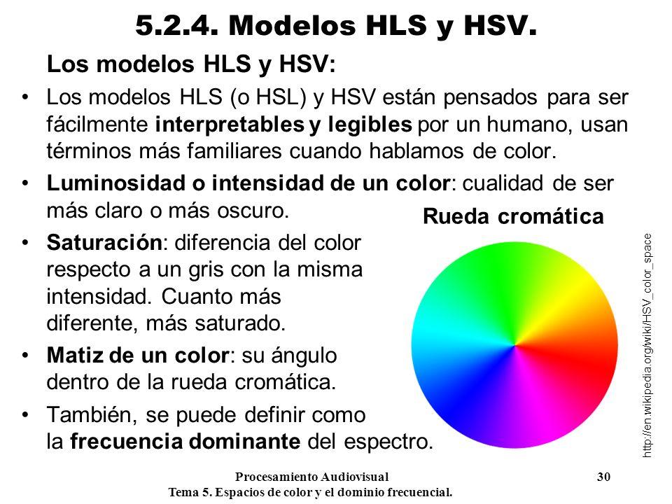 Procesamiento Audiovisual 30 Tema 5. Espacios de color y el dominio frecuencial. 5.2.4. Modelos HLS y HSV. Los modelos HLS y HSV: Los modelos HLS (o H