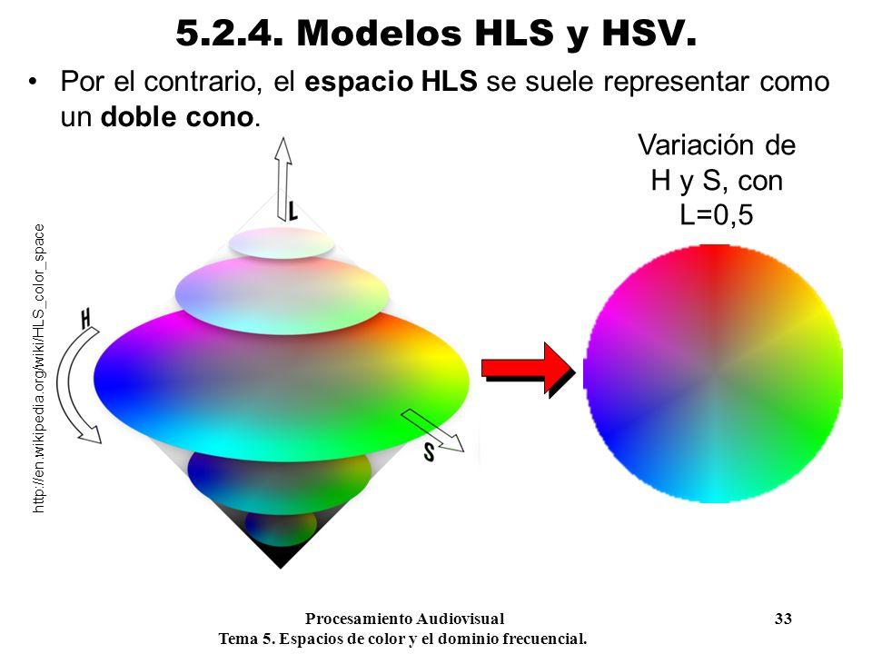 Procesamiento Audiovisual 33 Tema 5. Espacios de color y el dominio frecuencial. 5.2.4. Modelos HLS y HSV. Por el contrario, el espacio HLS se suele r