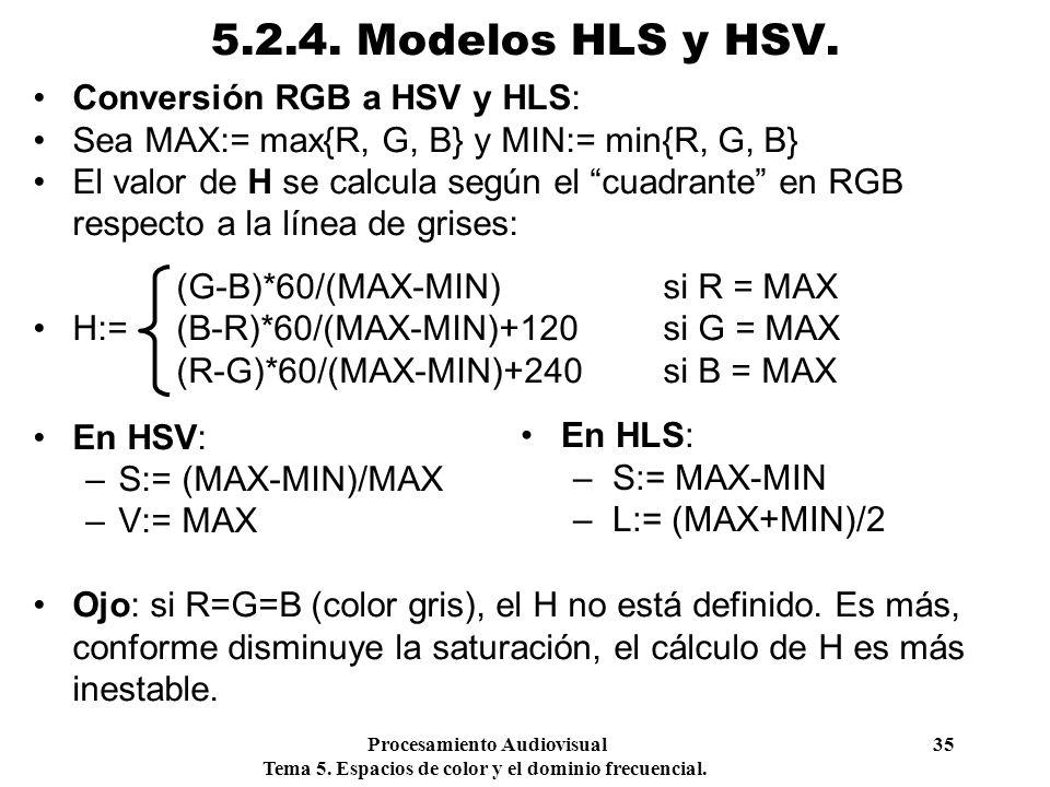 Procesamiento Audiovisual 35 Tema 5. Espacios de color y el dominio frecuencial. 5.2.4. Modelos HLS y HSV. Conversión RGB a HSV y HLS: Sea MAX:= max{R