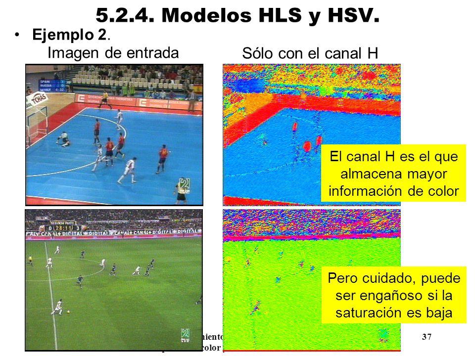 Procesamiento Audiovisual 37 Tema 5. Espacios de color y el dominio frecuencial. 5.2.4. Modelos HLS y HSV. Ejemplo 2. Imagen de entrada Canal H Sólo c