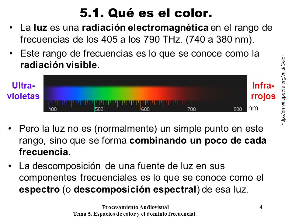 Procesamiento Audiovisual 4 Tema 5. Espacios de color y el dominio frecuencial. 5.1. Qué es el color. La luz es una radiación electromagnética en el r