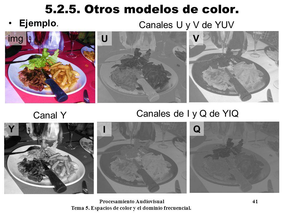 Procesamiento Audiovisual 41 Tema 5. Espacios de color y el dominio frecuencial. 5.2.5. Otros modelos de color. Ejemplo. img Y I Q U V Canales U y V d