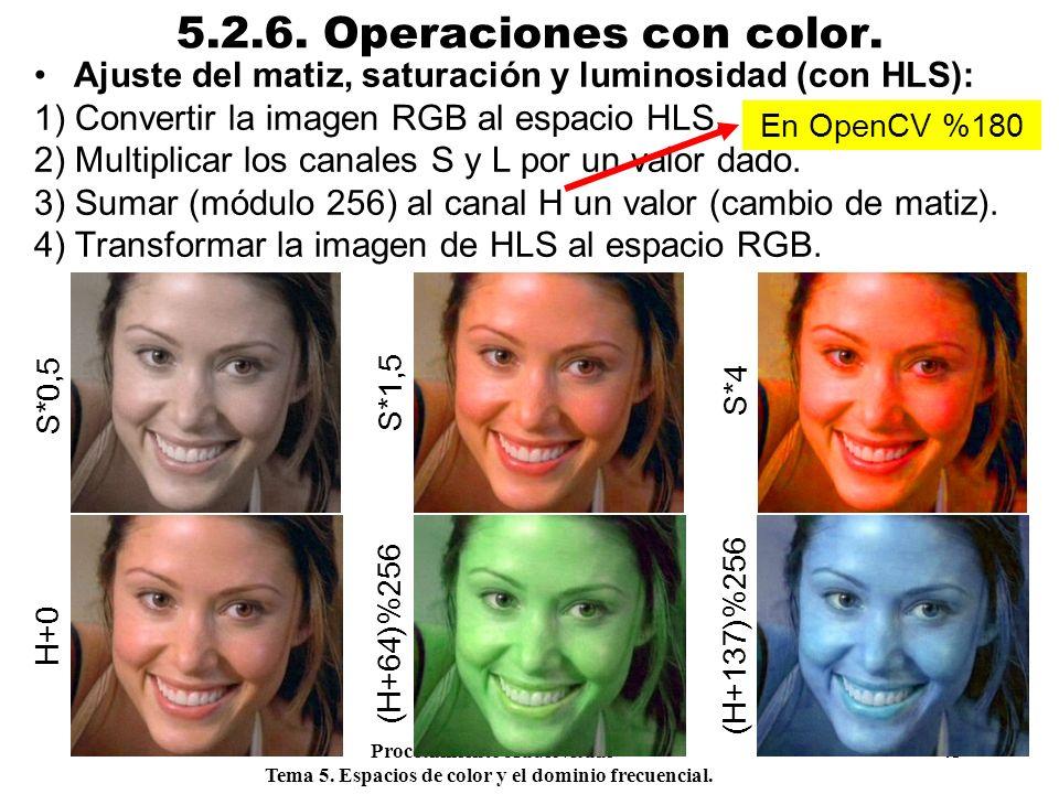 Procesamiento Audiovisual 43 Tema 5. Espacios de color y el dominio frecuencial. 5.2.6. Operaciones con color. Ajuste del matiz, saturación y luminosi