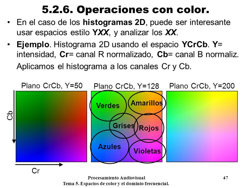 Procesamiento Audiovisual 47 Tema 5. Espacios de color y el dominio frecuencial. 5.2.6. Operaciones con color. En el caso de los histogramas 2D, puede