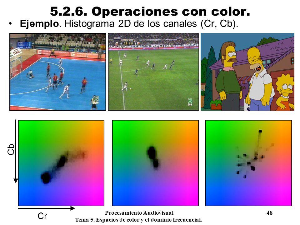 Procesamiento Audiovisual 48 Tema 5. Espacios de color y el dominio frecuencial. 5.2.6. Operaciones con color. Ejemplo. Histograma 2D de los canales (
