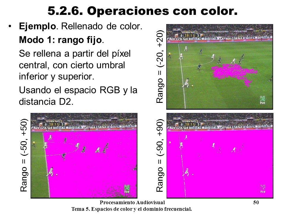 Procesamiento Audiovisual 50 Tema 5. Espacios de color y el dominio frecuencial. 5.2.6. Operaciones con color. Ejemplo. Rellenado de color. Modo 1: ra