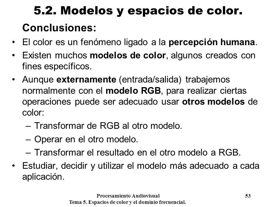 Procesamiento Audiovisual 53 Tema 5. Espacios de color y el dominio frecuencial. 5.2. Modelos y espacios de color. Conclusiones: El color es un fenóme